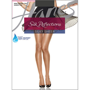 Hanes Silk Reflections Panty hose Barely Black.