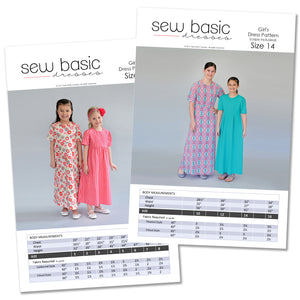 Sew Basic dress patterns, front of package.