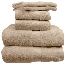 Taupe bath towels, hand towels, washcloths.