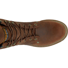 Lace-up front of Carolina Work boot.