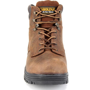 Steel toe Carolina work boot, front view.