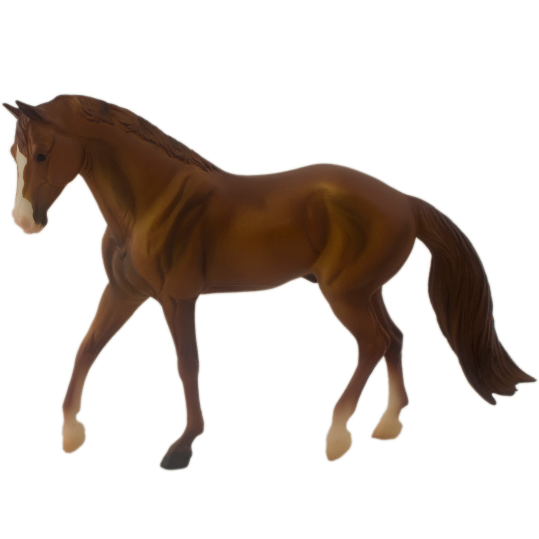 Chesnut-colored American quarter horse, Breyer Classic Collection toy horse.