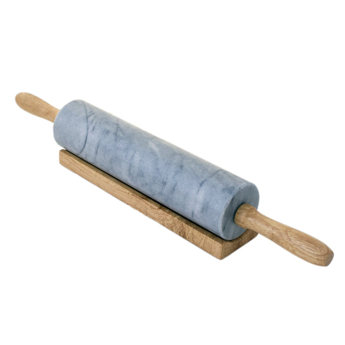 Marble rolling pin in wooden stand.
