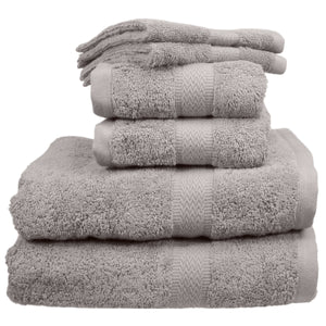 Gray bath towels, hand towels, and wash cloths.