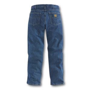 Carhartt darkstone jeans, back with Carhartt logo on back pocket.