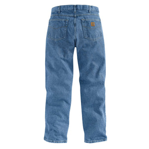 Stonewashed Carhartt blue jeans, with Carhartt logo visible on back pocket.