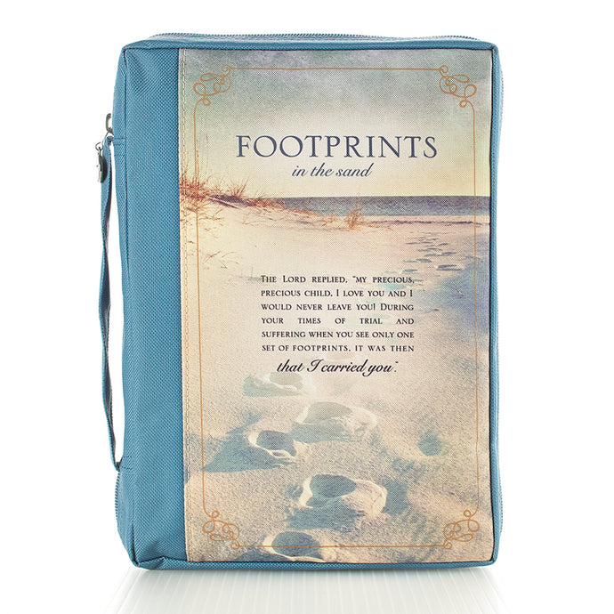 Footprints Poly/Canvas Bible Cover BBM597
