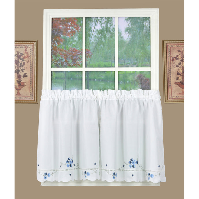 White and blue floral tier curtains