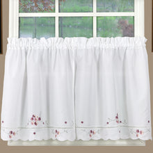 Curtains white rose accents