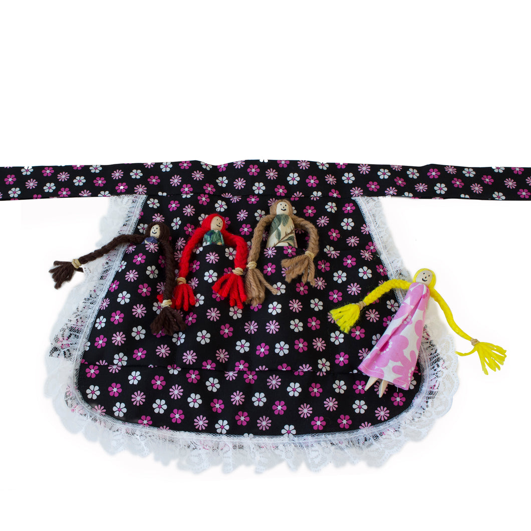 Handmade gift idea, Old-fashioned clothespin doll apron for kids.