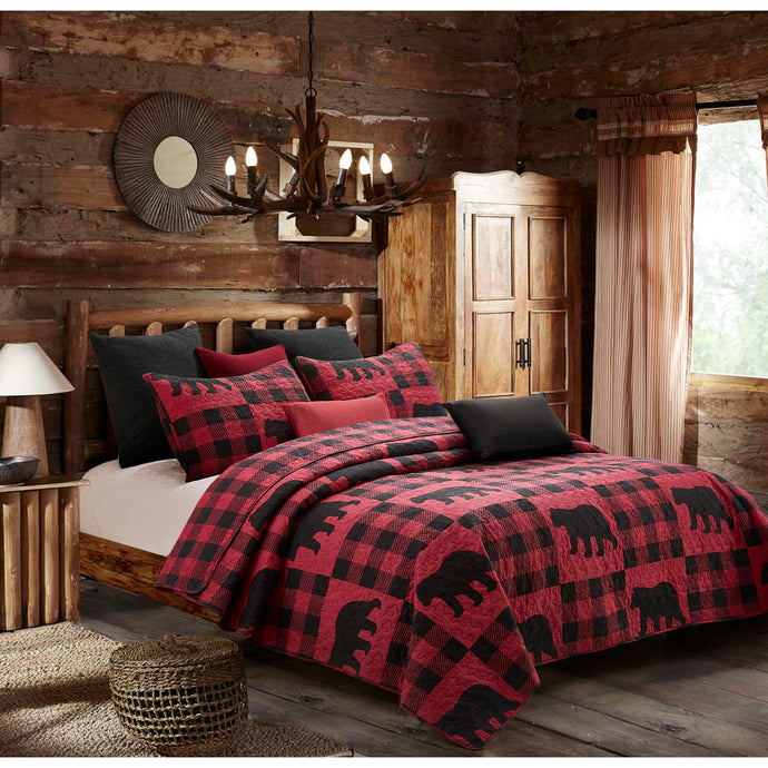 Buffalo Check Black Bear Quilt Set DQ680