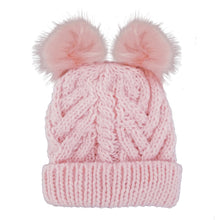 Girls Blush Pink Fluffer Beanie Hat 969
