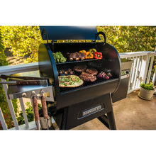 Traeger Ironwood 650 pellet grill with food inside