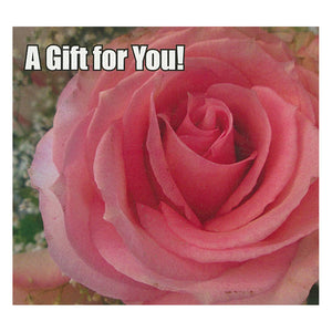 Good's Store Gift Card in a Pink Rose Holder