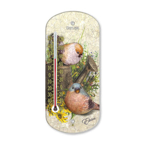 8 Inch Decorative Chickadee Suction Thermometer 5206
