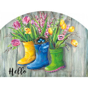 rain boots and flowers hello plaque