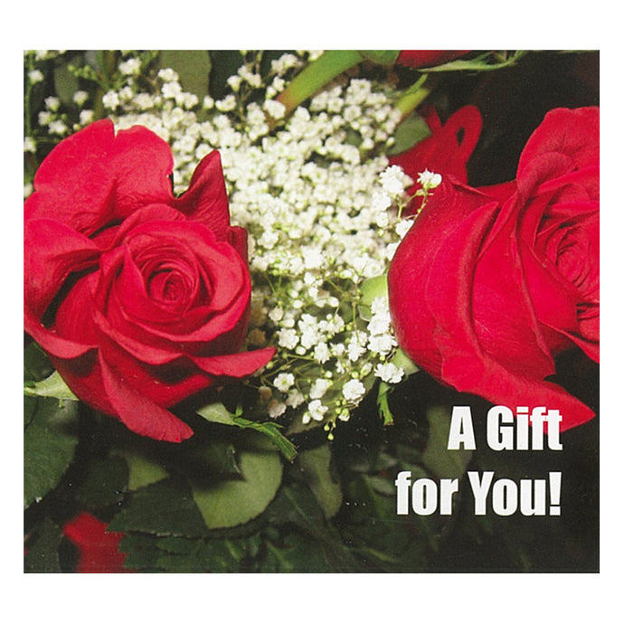 Good's Store Gift Card in a Roses with Baby's Breath Holder