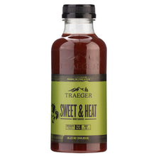 Traeger sweet & heat bbq sauce in glass bottle