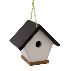 Ebersol Poly Crafts Wren House Birdhouse hanging on chain.
