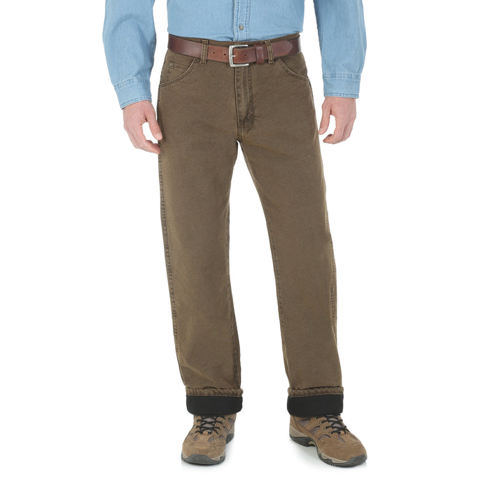 Night Brown Wrangler lined jeans, front view.