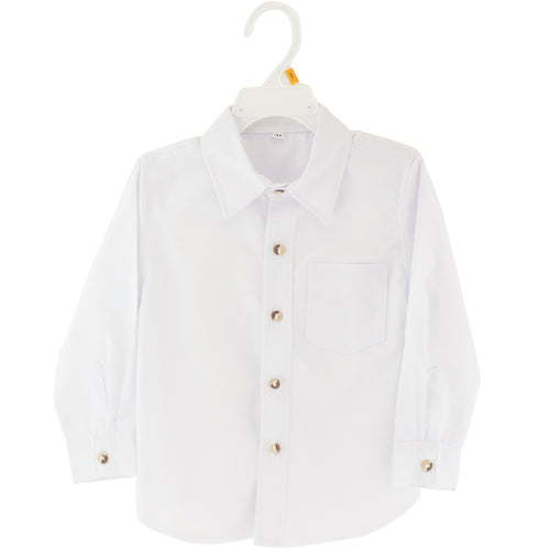 Boys white long sleeve dress shirt with brown buttons