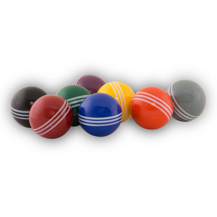 Eight croquet balls, eight different colors.