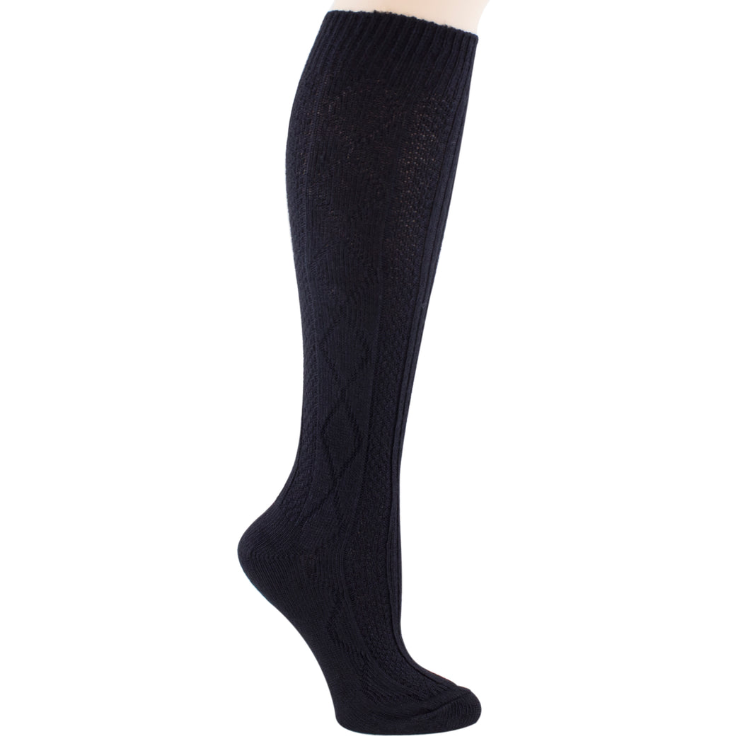 Black Lizzie Ann acrylic knee-high socks.