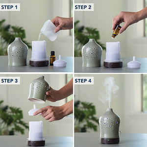 Add aromatherapy oil to a diffuser.