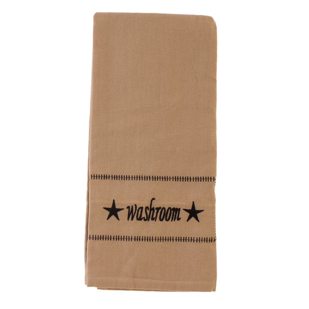 Tan hand towel.