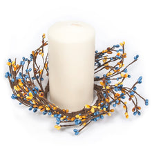 Yellow Blue Mixed Berry Wreath Candle Ring