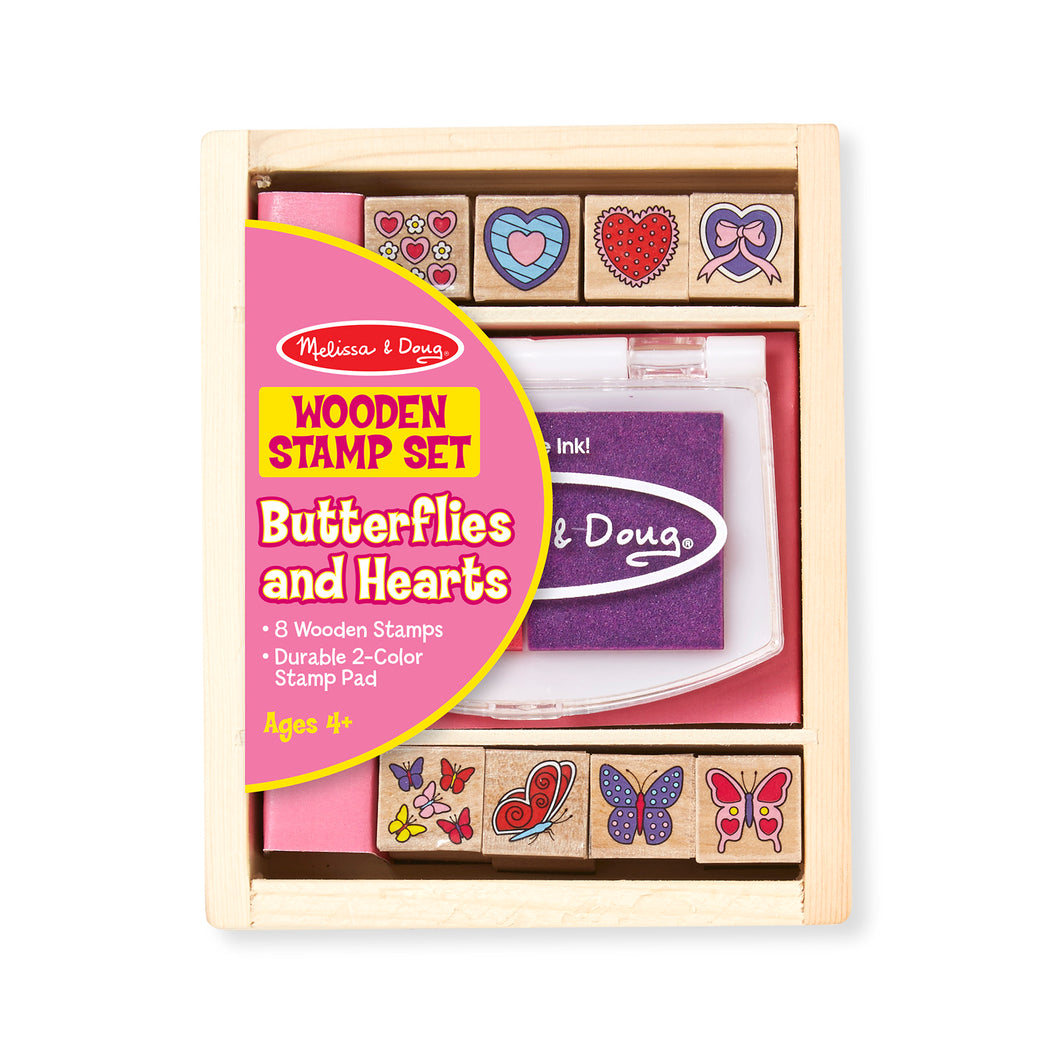 Melissa and Doug Butterflies and Hearts Wooden Stamp set.