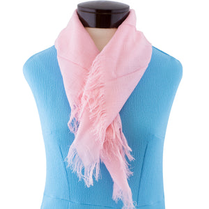 Pink scarf.