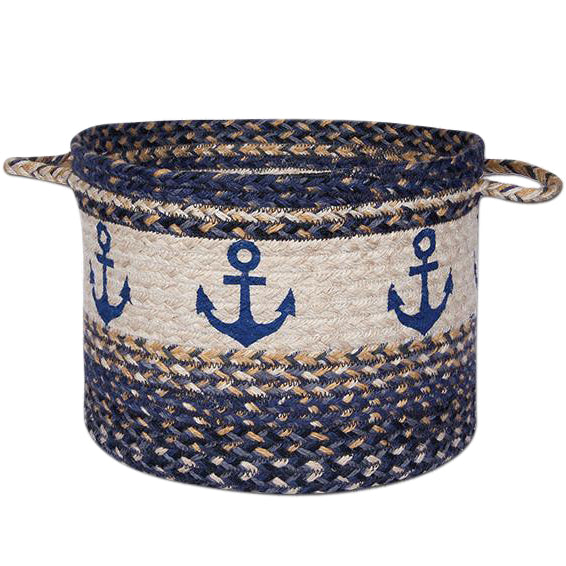 Braided Basket with anchors on it.