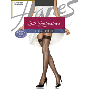 Hanes Silk Reflections Thigh High nylons in barely black