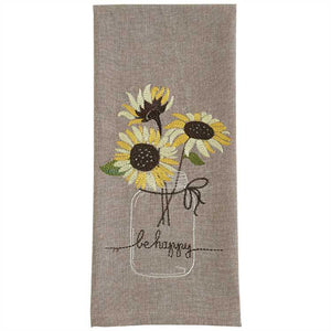 be happy sunflowers in a jar kitchen towel from Park designs