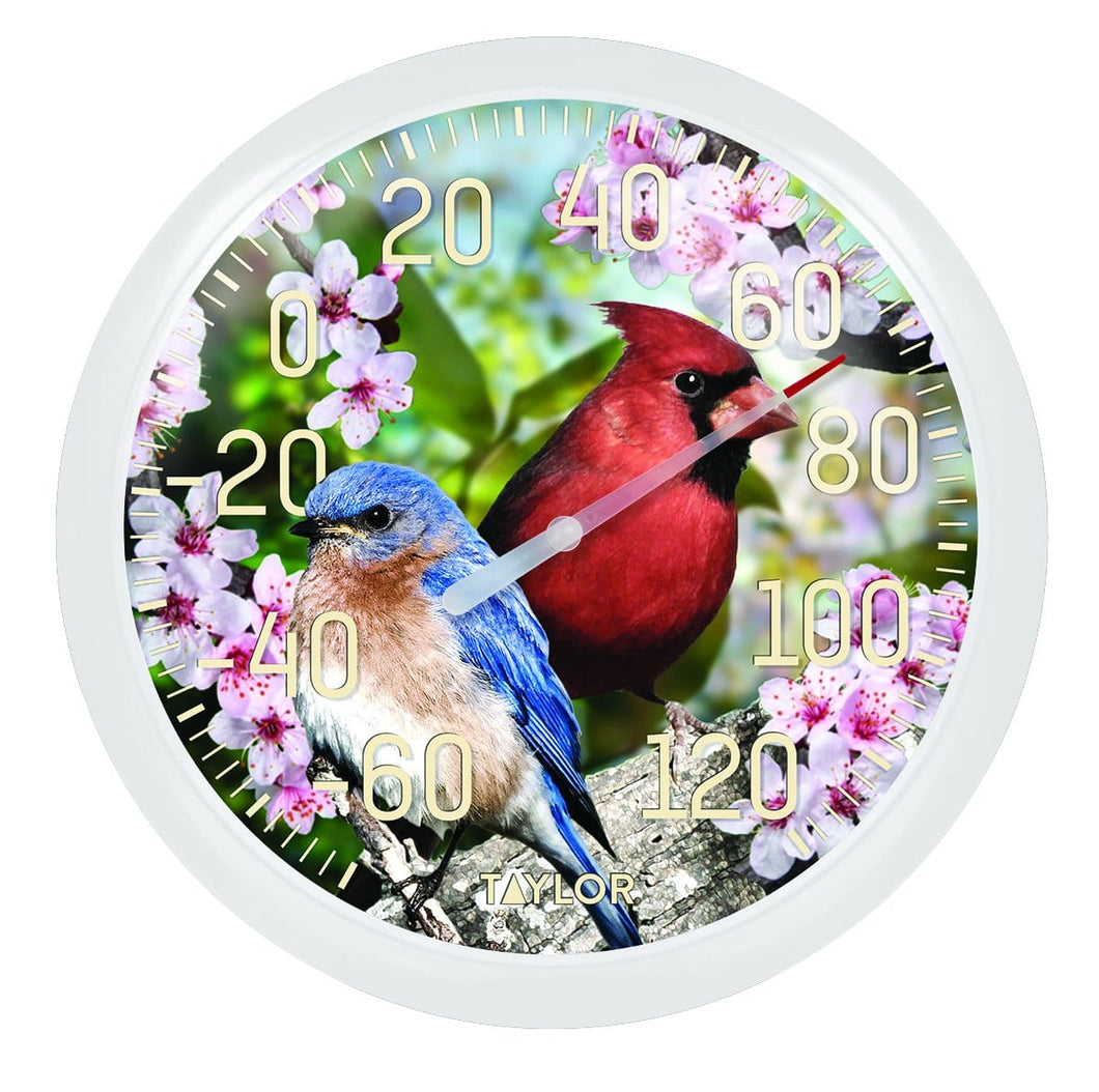 Cardinal and bluebird thermometer