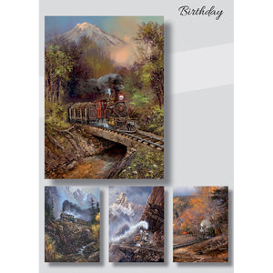 Boxed Birthday cards with train pictures