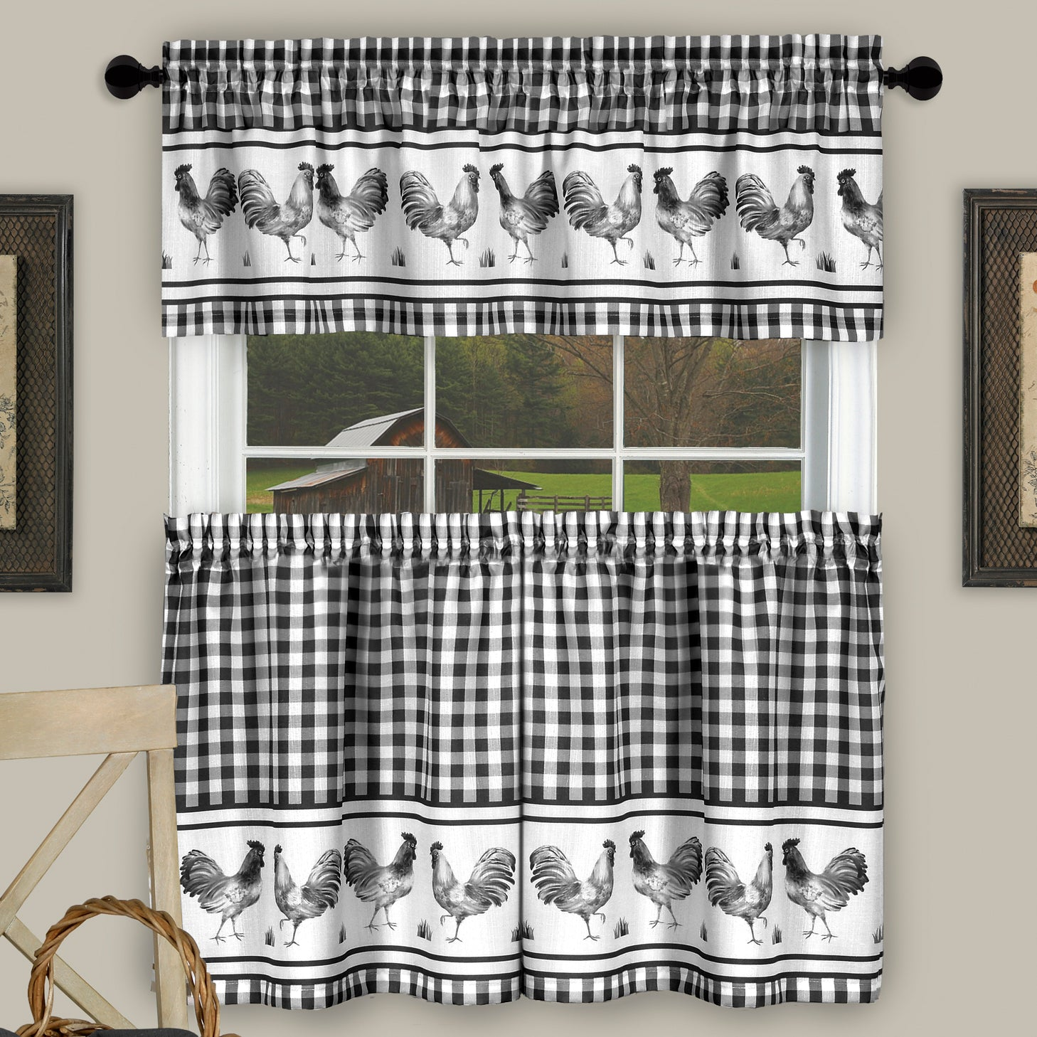 Black Rooster Curtains