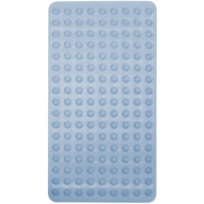 Blue rubber bath mat with suction cups