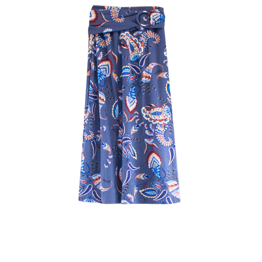 women's denim paisley midi skirt