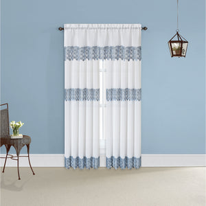 Blue lacy curtains