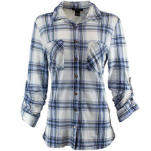 Blue and white plaid shirt