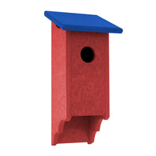 Red and blue birdhouse