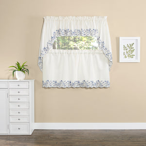 White curtains with blue trim