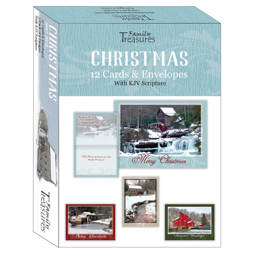Boxed Christmas Cards.Boxed Cards Christmas Grist Mills Kjv Scriptures 12 Cards 4 Designs