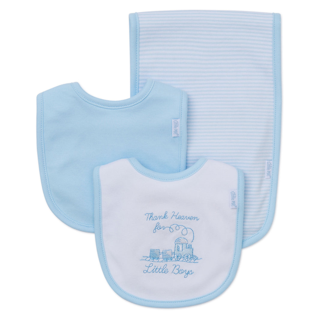 Boy bibs and burp cloth
