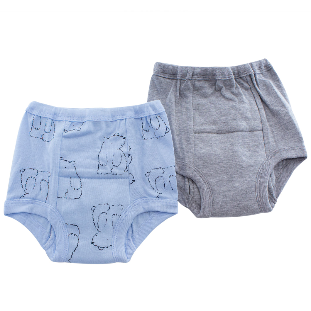 Blue and gray boys training pants