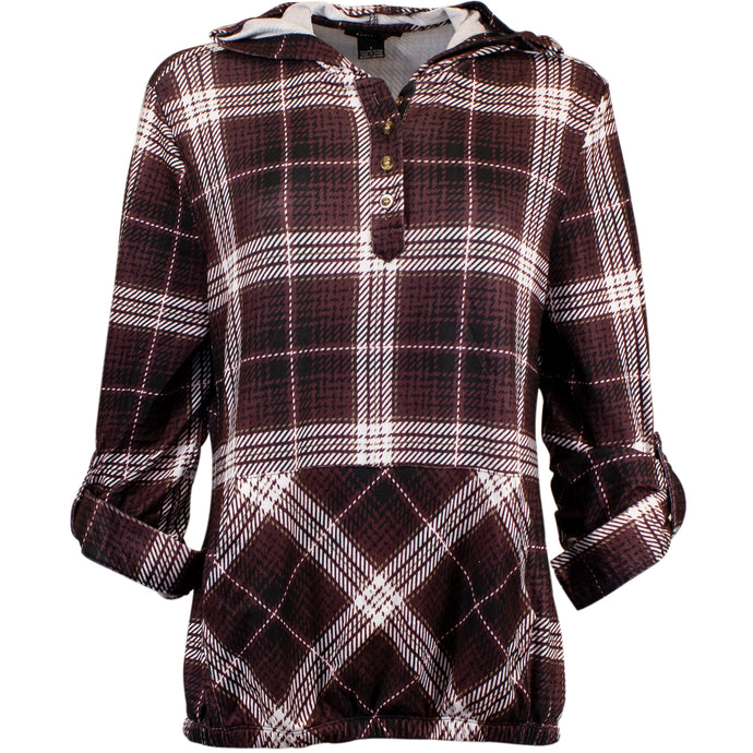 Burgundy plaid hooded shirt