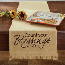 count your blessings burlap look print table runner park designs with photo accents