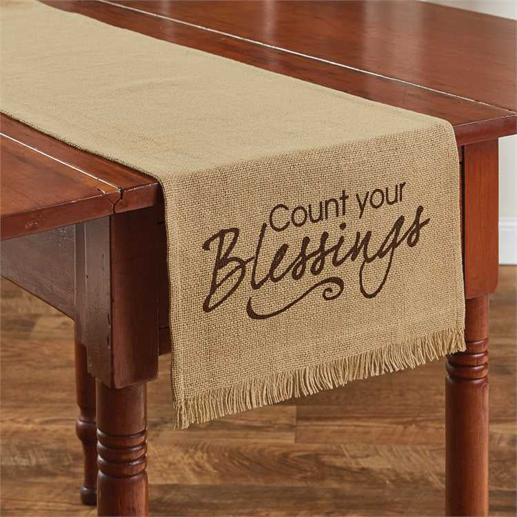 count your blessings burlap look print table runner park designs